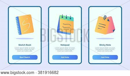 Sketch Book Notepad Sticky Note For Mobile Apps Template Banner Page Ui With Three Variations Modern