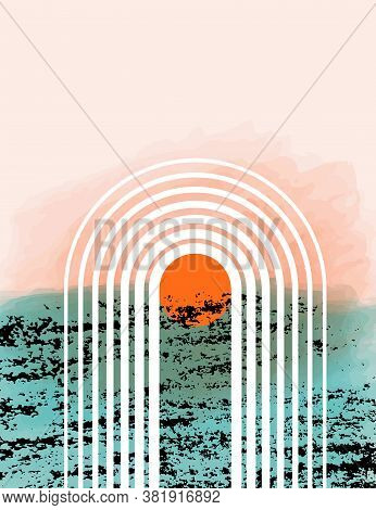 Abstract Contemporary Vector Background With Rainbow, Sun, Rays. Sea Sunset Landscape After Rain In