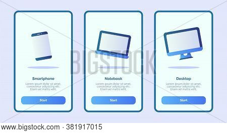 Smartphone Notebook Desktop For Mobile Apps Template Banner Page Ui With Three Variations Modern Fla