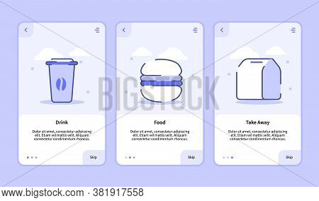 Drink Food Take Away Onboarding Screen For Mobile Apps Template Banner Page Ui With Three Variations
