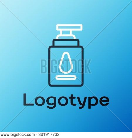 Line Personal Lubricant Icon Isolated On Blue Background. Lubricating Gel. Cream For Erotic Sex Game