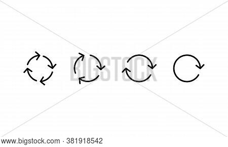 Black Circle Arrows Icon Set. A Set Of Rotating Arrows. Refresh, Reload, Reload Trash Can Sign. Vect