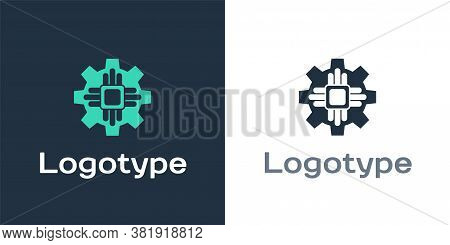 Logotype Processor Icon Isolated On White Background. Cpu, Central Processing Unit, Microchip, Micro