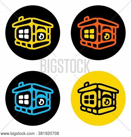 Vector Logo Of Fireplace And Home. Cozy Home. Fireplace Icon. Logo For Construction, Fireplaces, Com