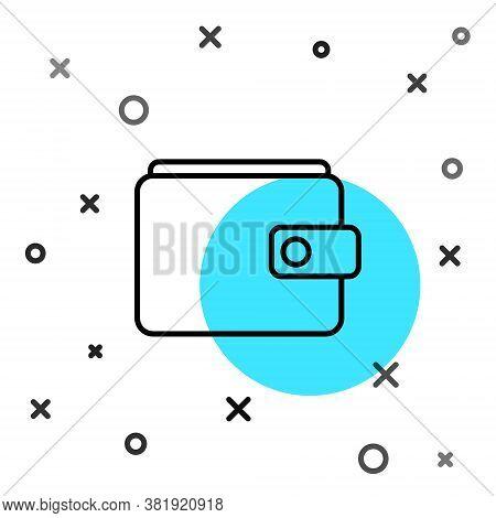 Black Line Wallet Icon Isolated On White Background. Purse Icon. Cash Savings Symbol. Random Dynamic