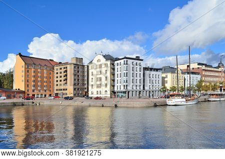 Finland. Beautiful Quay In Helsinki In A Wonderful Autumn Sunny Day