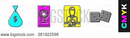 Set Money Bag, Casino Poker Tournament Invitation, Casino Dealer And Game Dice Icon. Vector