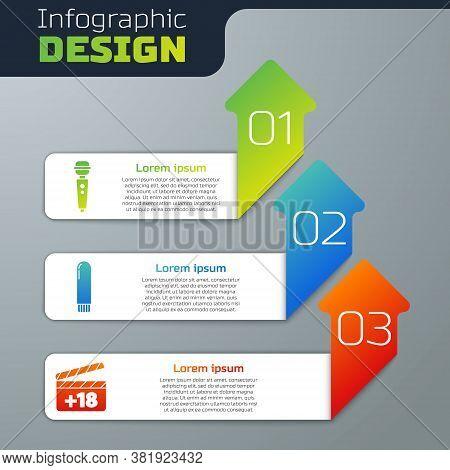 Set Dildo Vibrator, Dildo Vibrator And Movie Clapper With 18 Plus Content. Business Infographic Temp