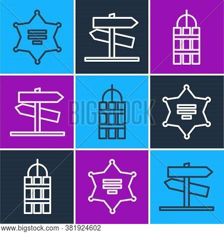 Set Line Hexagram Sheriff, Detonate Dynamite Bomb Stick And Road Traffic Signpost Icon. Vector