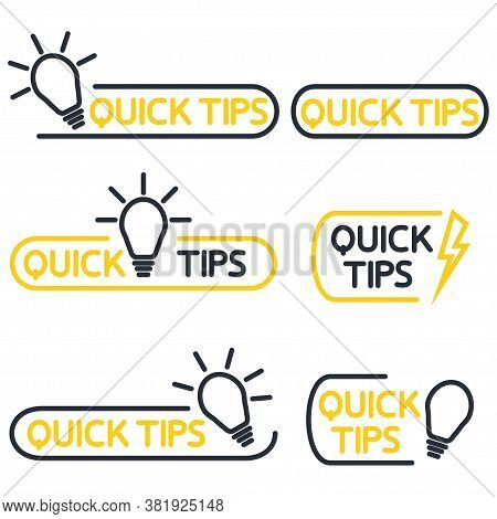 Quick Tips Icon Or Symbol Set With Black And Yellow Color And Lightbulb Element. Helpful Tricks. Hel