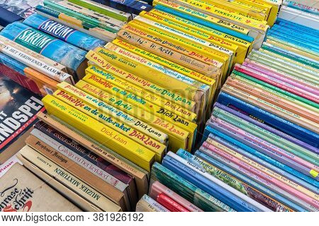Urk, The Netherlands- April 30, 2013: Dutch Flea Market With Juvenile Books Of Pinkeltje