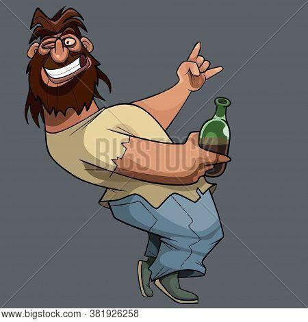 Funny Cartoon Drunk Shaggy Bearded Man Having Fun With Bottle In Hand