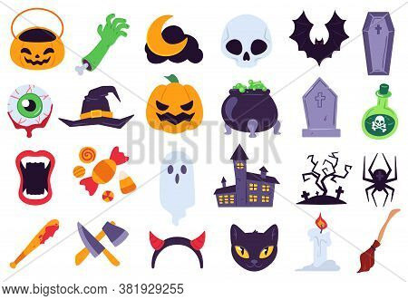Halloween Icons. Holiday Symbols, Moon And Spider, Pumpkin, Ghost And Bat. Candy, Skull And Gravesto