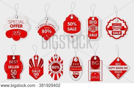 Red Sale Labels. Various Paper Discount Price Tags With Ropes, Shopping Promotion Pricing Sign, Spec