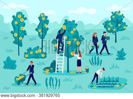 Investment Concept. Businessman Picking Cash, Financial Profit, Money Revenue, Return Capital Strate