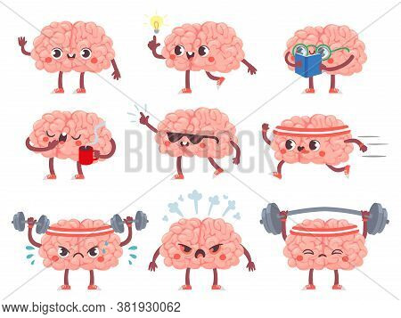 Brain Characters. Happy Brains In Different Poses And Emotions, Mental Exercise, Education Metaphor