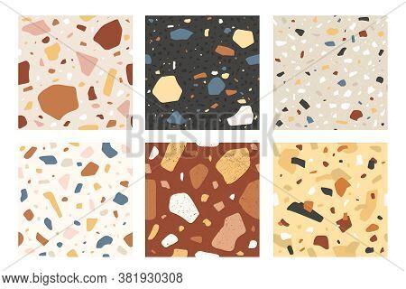Terrazzo Seamless Pattern. Veneziano Italian Stone Mosaic Composite Texture, Decorative Tile. Granit