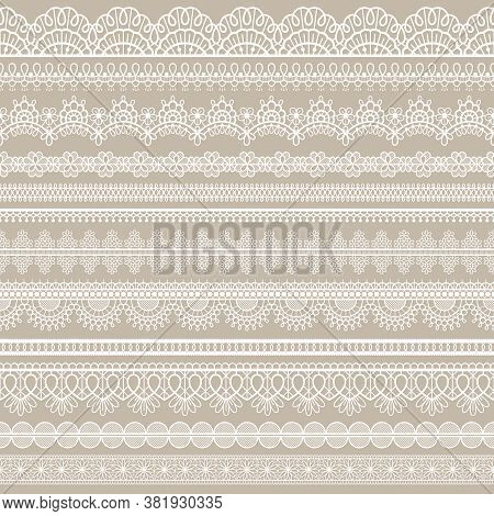 Lace Seamless Border. White Cotton Lace Strips, Embroidered Decorative Ornate Eyelets Pattern, Horiz