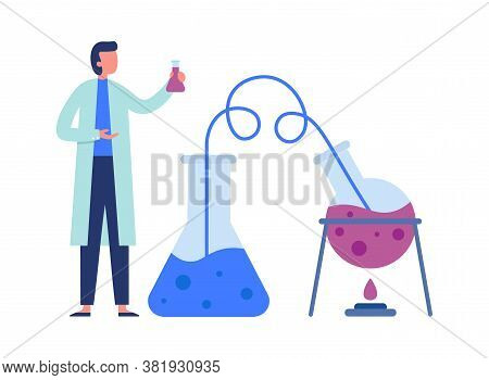 Chemistry Scientist With Scientific Lab Equipments Doing Experiment. Heating Flask With Liquid, Tran