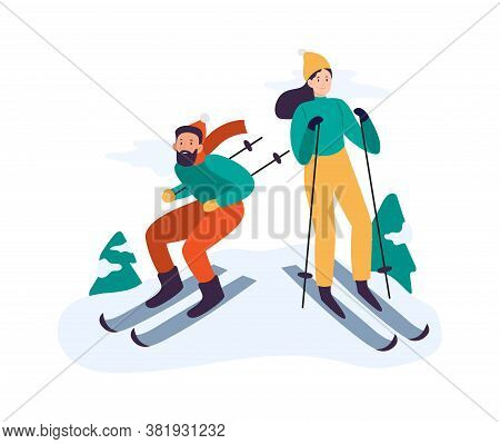 Winter Activities. People Skiing. Couple Spending Time Together Actively Outdoor, Having Leisure. Ma