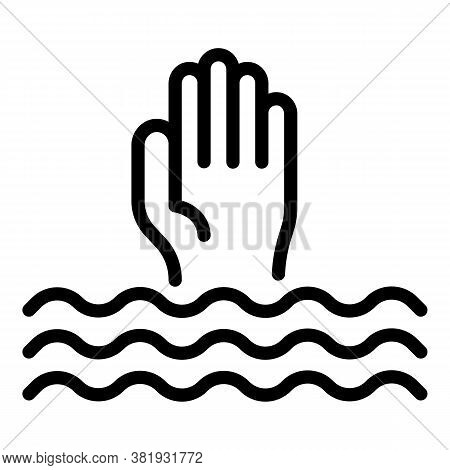 Drowned Man Icon. Outline Drowned Man Vector Icon For Web Design Isolated On White Background