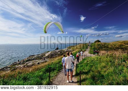Helsinki, Finland - August 15, 2020: People Walk On The Suomenlinna Island At The Hot Summer Day. Th