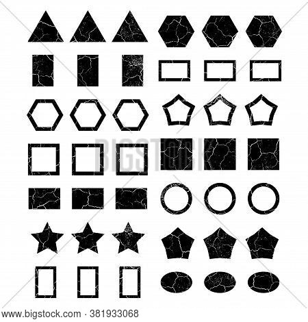 A Large Set Of 42 Simple Shapes And Frames With The Texture Of Cracks And Fractures. Triangles, Circ