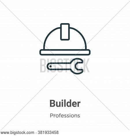 Builder icon isolated on white background from professions collection. Builder icon trendy and moder