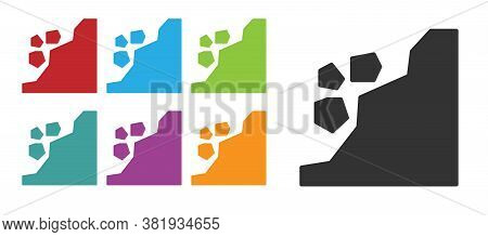 Black Landslide Icon Isolated On White Background. Stones Fall From The Rock. Boulders Rolling Down