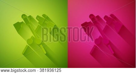 Paper Cut Crossed Medieval Axes Icon Isolated On Green And Pink Background. Battle Axe, Executioner