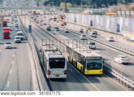 Bus Rapid Transit Or Metrobus Is A 50 Km Bus Rapid Transit Route In Istanbul.