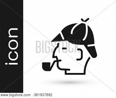 Black Sherlock Holmes With Smoking Pipe Icon Isolated On White Background. Detective. Vector