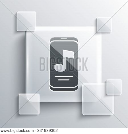 Grey Music Player Icon Isolated On Grey Background. Portable Music Device. Square Glass Panels. Vect