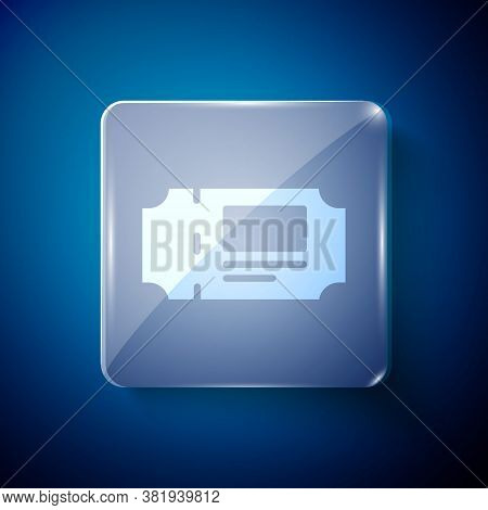 White Museum Ticket Icon Isolated On Blue Background. History Museum Ticket Coupon Event Admit Exhib