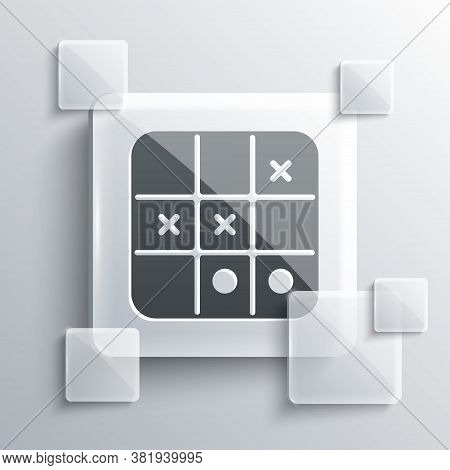 Grey Tic Tac Toe Game Icon Isolated On Grey Background. Square Glass Panels. Vector