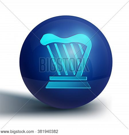 Blue Harp Icon Isolated On White Background. Classical Music Instrument, Orhestra String Acoustic El