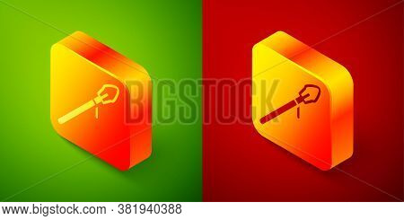Isometric Medieval Spear Icon Isolated On Green And Red Background. Medieval Weapon. Square Button.