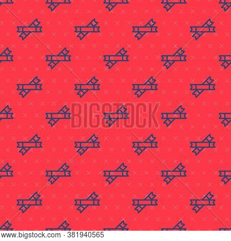 Blue Line Sugar Stick Packets Icon Isolated Seamless Pattern On Red Background. Blank Individual Pac