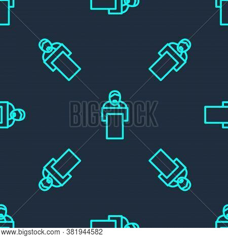 Green Line Gives Lecture Icon Isolated Seamless Pattern On Blue Background. Stand Near Podium. Speak