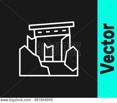 White Line Ancient Ruins Icon Isolated On Black Background. Vector