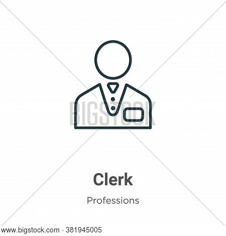 Clerk icon isolated on white background from professions collection. Clerk icon trendy and modern Cl