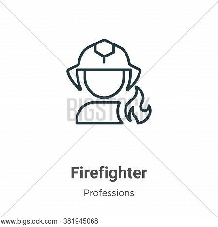 Firefighter icon isolated on white background from professions collection. Firefighter icon trendy a