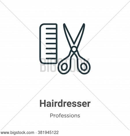 Hairdresser icon isolated on white background from professions collection. Hairdresser icon trendy a
