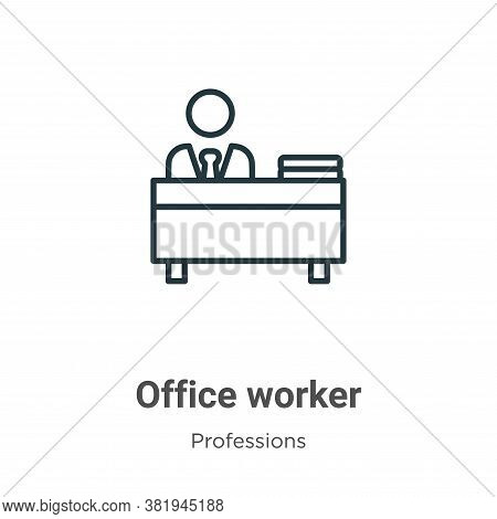 Office worker icon isolated on white background from professions collection. Office worker icon tren