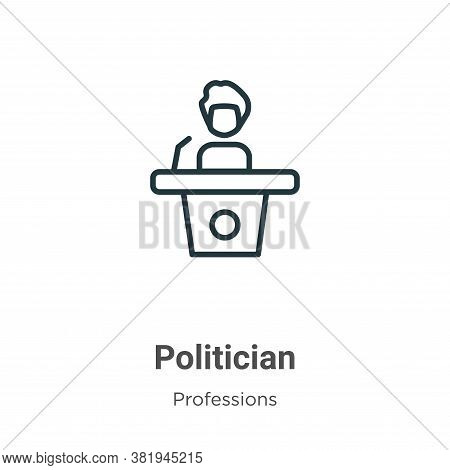 Politician icon isolated on white background from professions collection. Politician icon trendy and