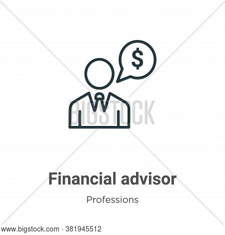 Financial advisor icon isolated on white background from professions collection. Financial advisor i