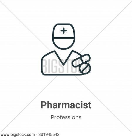 Pharmacist icon isolated on white background from professions collection. Pharmacist icon trendy and