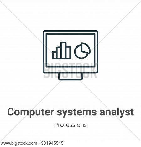 Computer systems analyst icon isolated on white background from professions collection. Computer sys