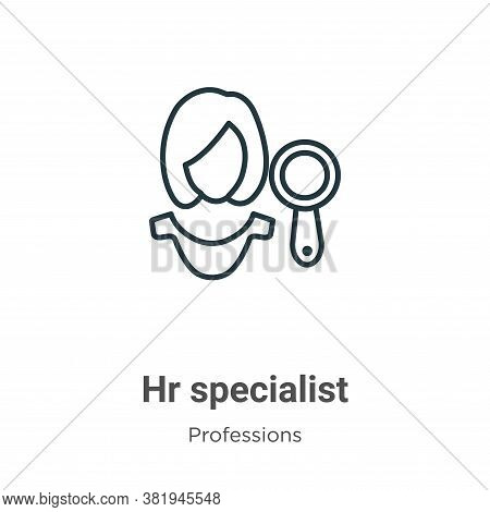 Hr specialist icon isolated on white background from professions collection. Hr specialist icon tren