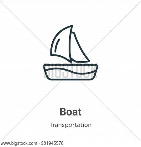 Boat icon isolated on white background from transportation collection. Boat icon trendy and modern B